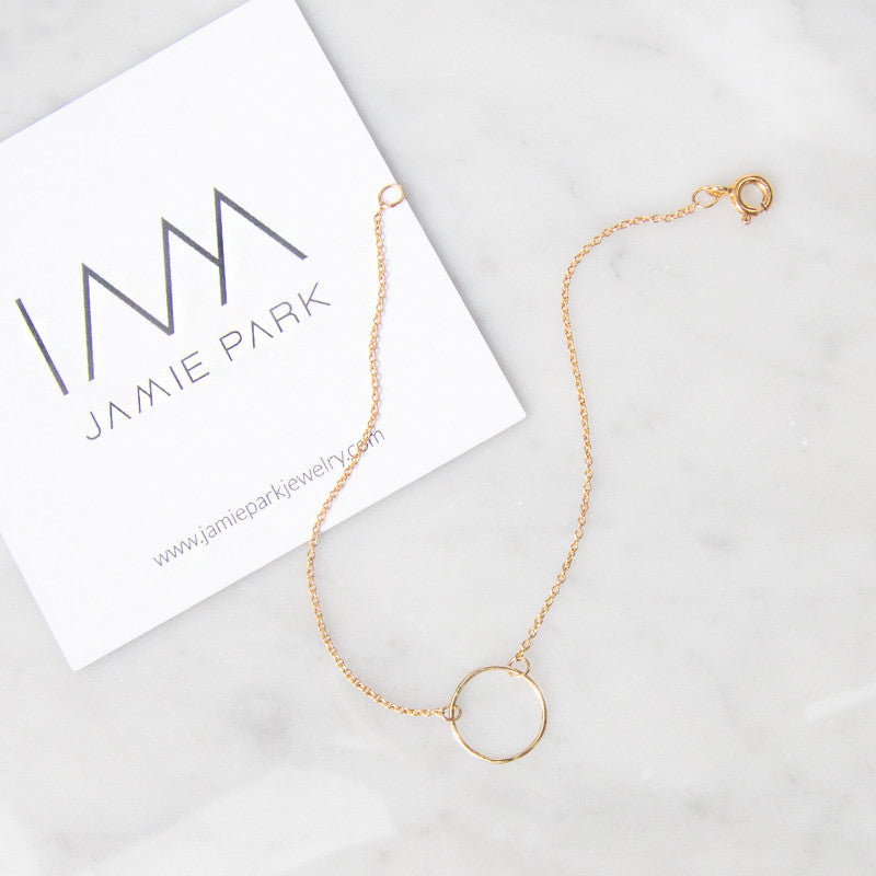 Gold Open circle bracelet, karma bracelet by Jamie Park Jewelry Handmade in USA