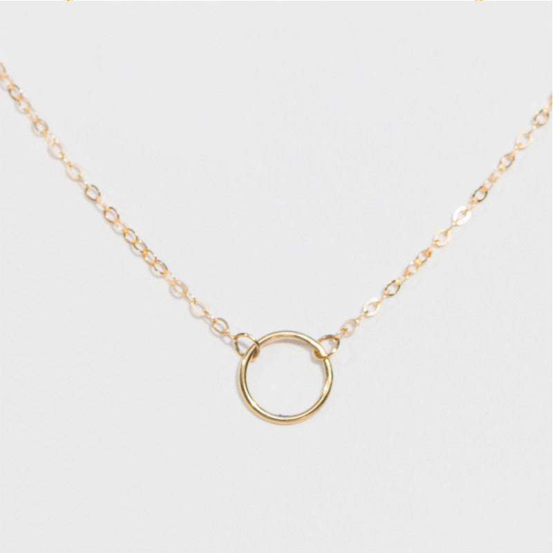 14K circle necklace, Karma necklace by Jamie Park Jewelry Handmade USA