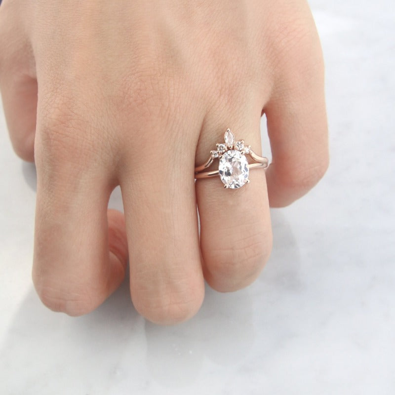 Luna Ring, White Sapphire Engagement Ring by Jamie Park Jewelry