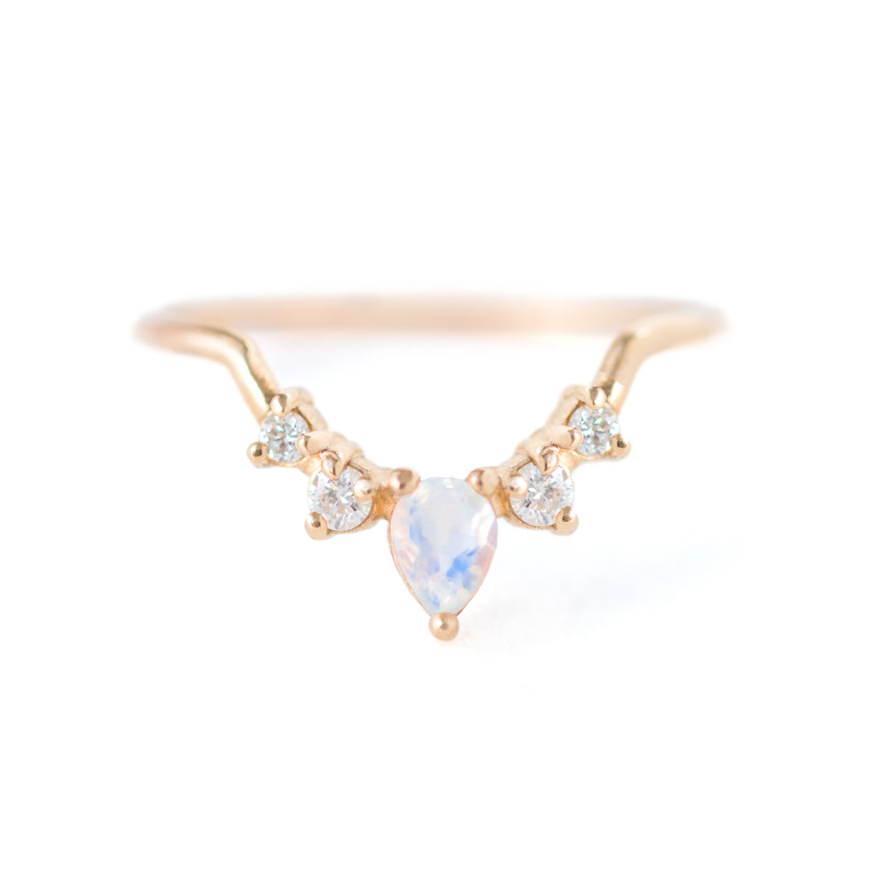 Moonstone Diamond Contour Band by Jamie Park Jewelry