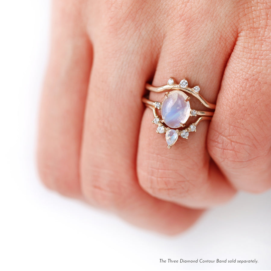 Moonstone Diamond Wedding Rings by Jamie Park Jewelry