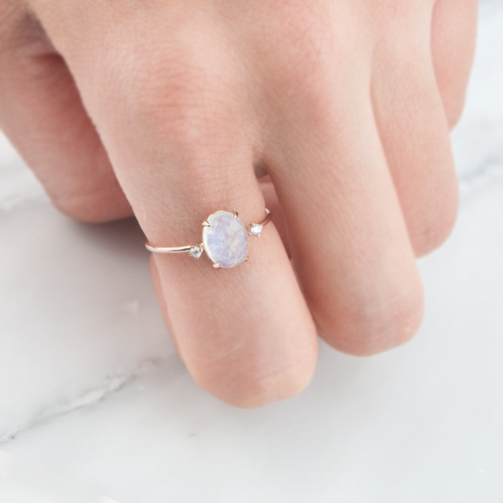 Rose Gold Moonstone Diamond Ring by Jamie Park Jewelry USA