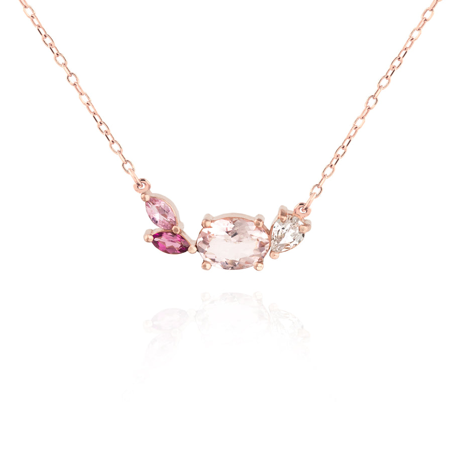 Morganite Cluster Necklace by Jamie Park Jewelry