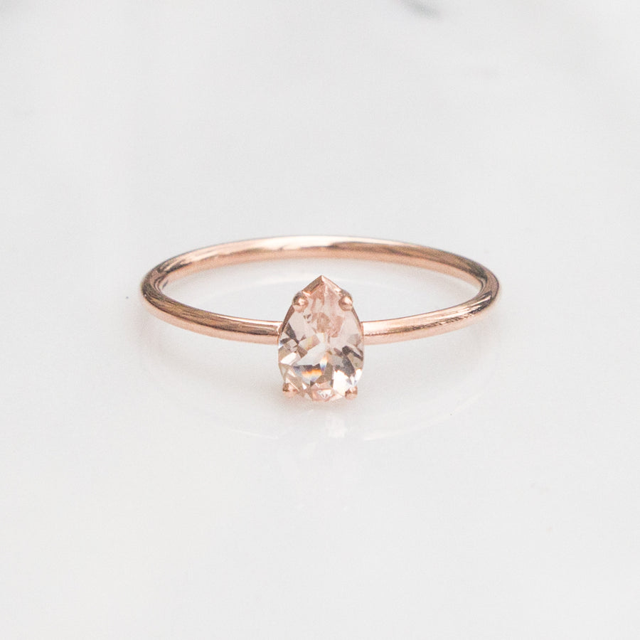 Pear cut morganite ring by Jamie Park Jewelry USA