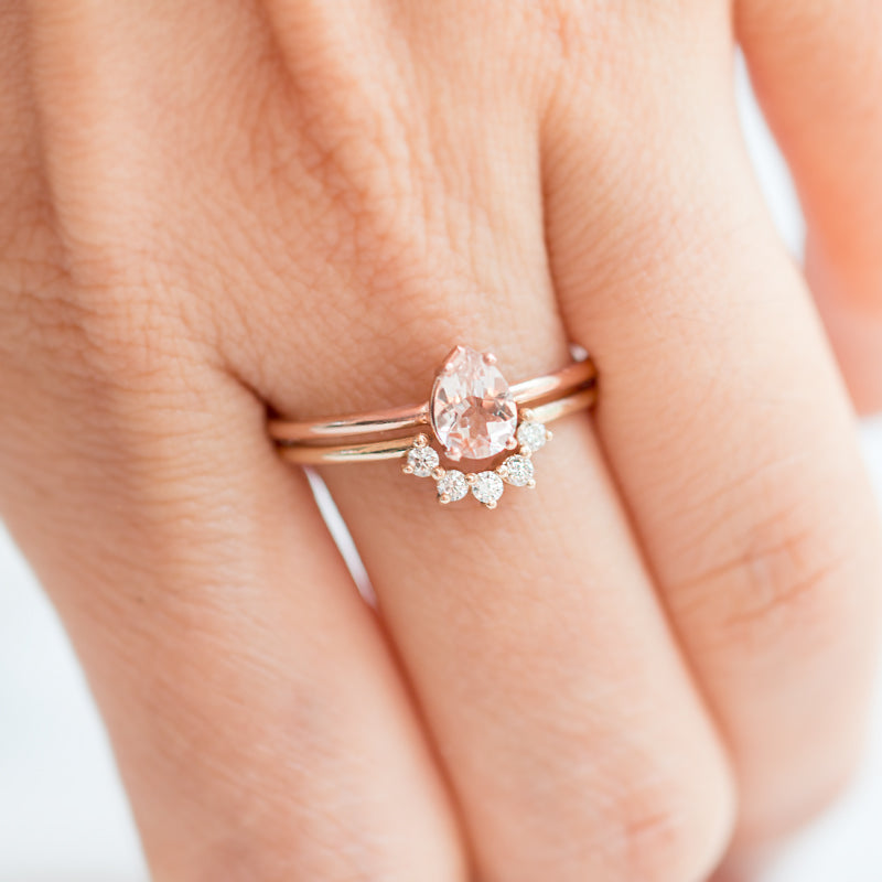 Pear cut morganite engagement ring by Jamie Park Jewelry USA