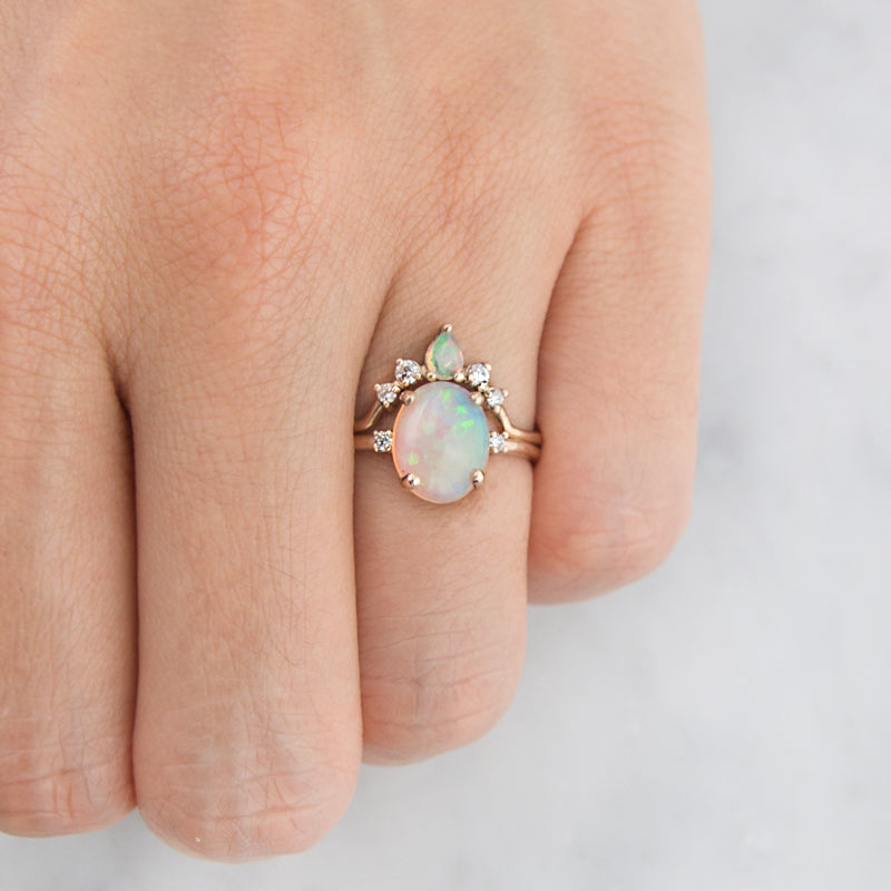 Opal Diamond Wedding Engagement Ring Set by Jamie Park Jewelry
