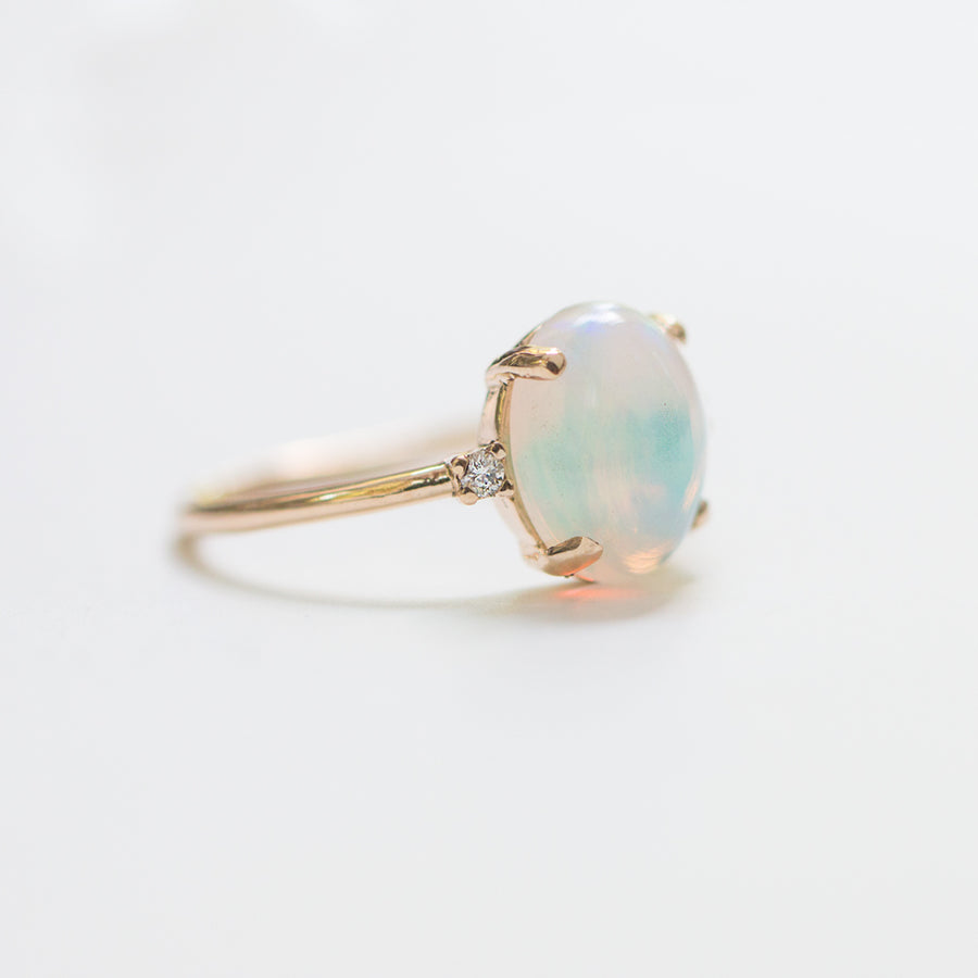 14K Opal diamondl Ring, Opal rings by Jamie Park Jewelry USA