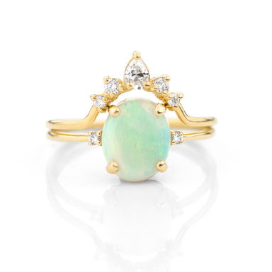 Opal Diamond Wedding Engagement Ring Set | Jamie Park Jewelry