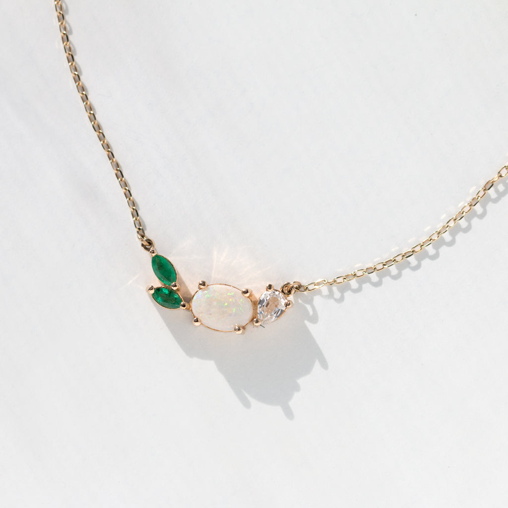 Opal Emerald Cluster Necklace