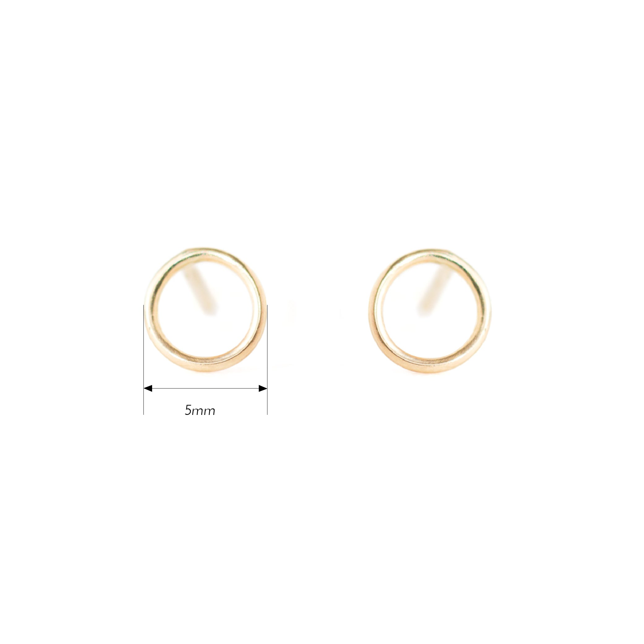 14K Gold Open Circle Stud Earrings by Jamie Park Jewelry