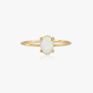 14K Oval Opal Ring by Jamie Park Jewelry Handmade in USA
