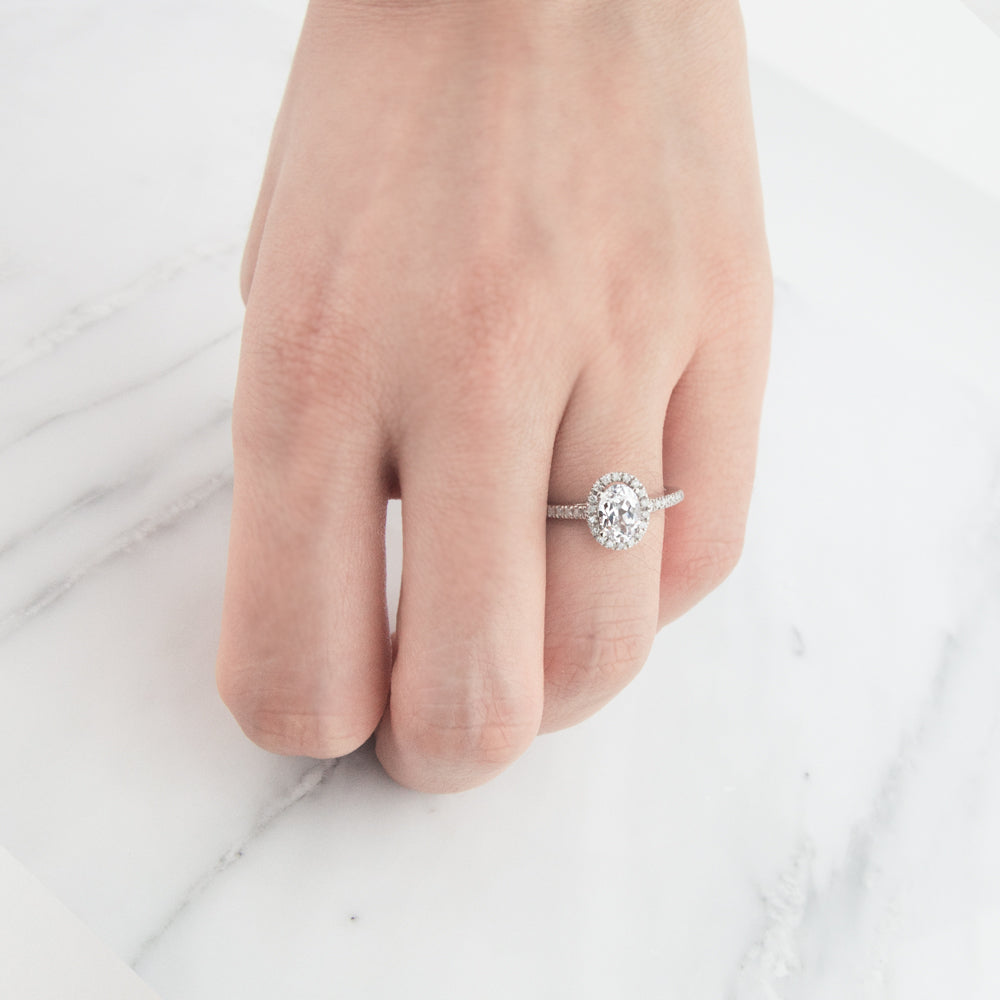 Halo Oval White Sapphire Ring by Jamie Park Jewelry