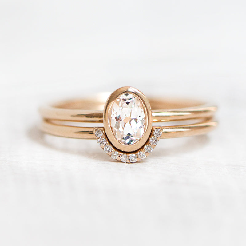 Oval Wedding Ring Set by Jamie Park Jewelry