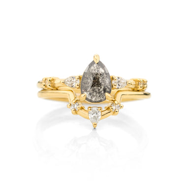 Pear Cut Salt and Pepper Diamond Ring Set | Jamie Park Jewelry