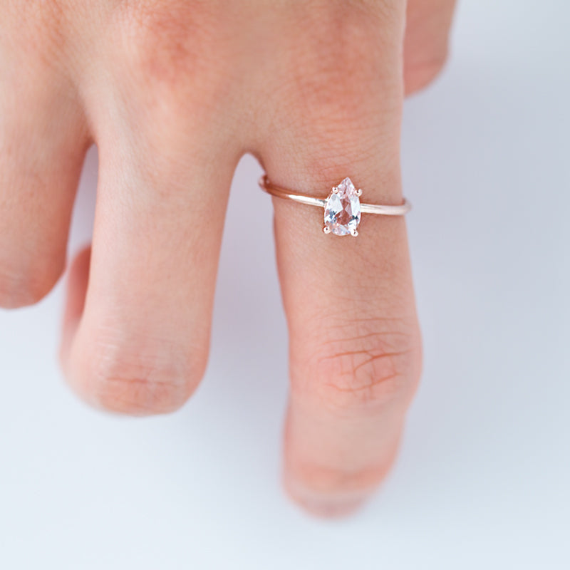 Pear Cut Morganite Solitaire Ring by Jamie Park Jewelry
