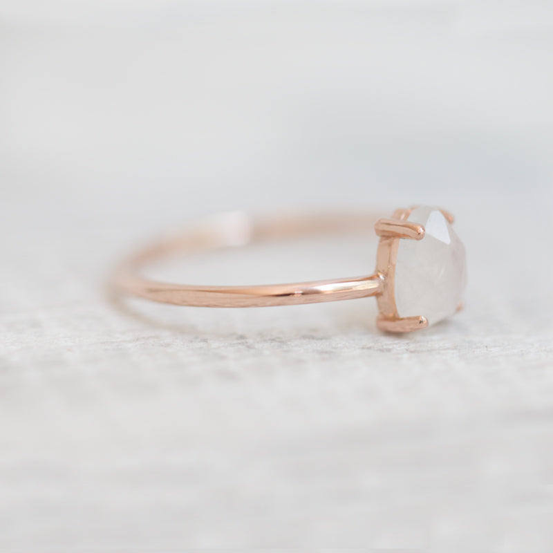 Rose cut moonstone ring by Jamie Park jewelry made in usa