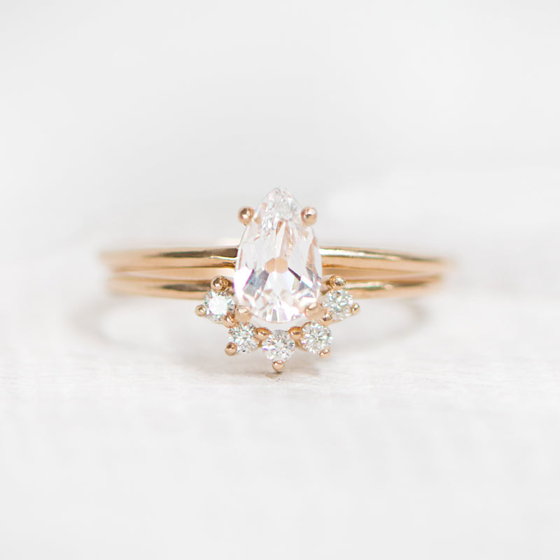 Pear cut wedding rings by Jamie Park Jewelry
