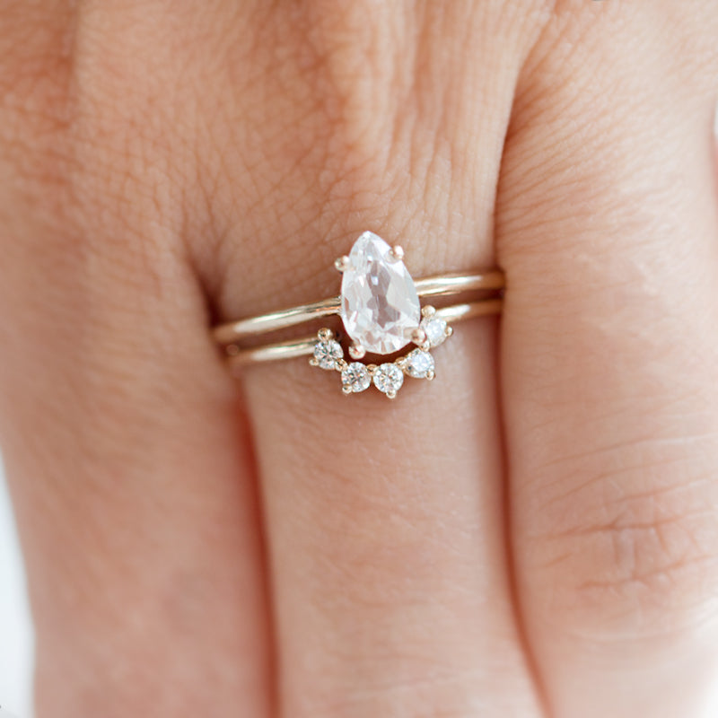 Pear Cut White Sapphire Ring by Jamie Park Jewelry