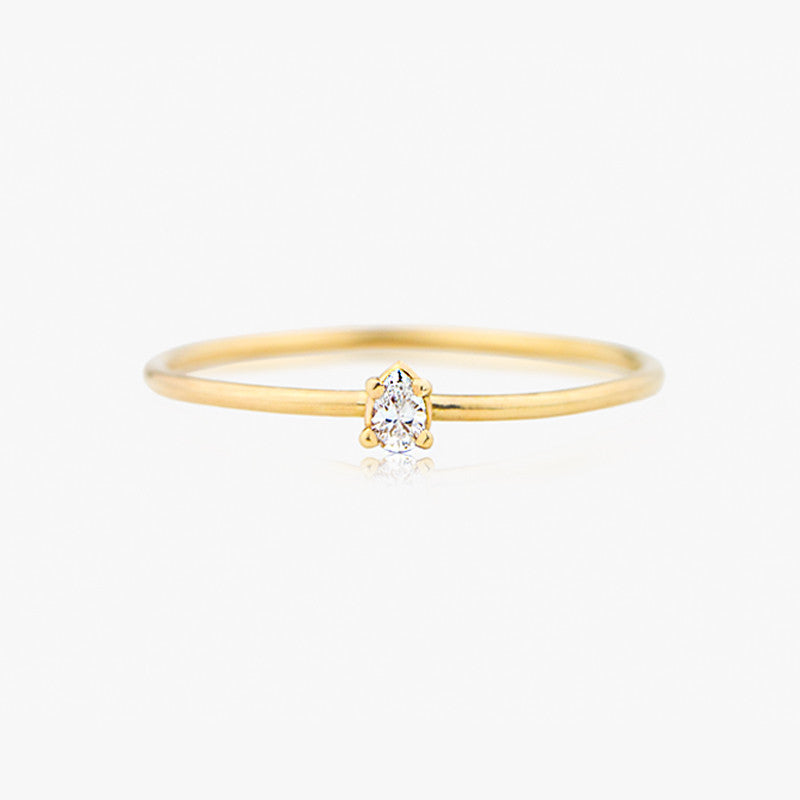 14K Pear Cut Diamond Ring, Handmade by Jamie Park Jewelry USA