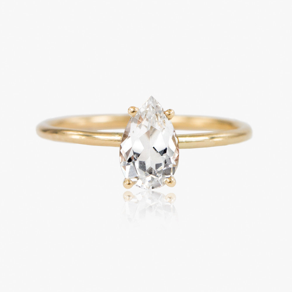 Pear Cut White Sapphire Ring by Jamie Park Jewelry USA