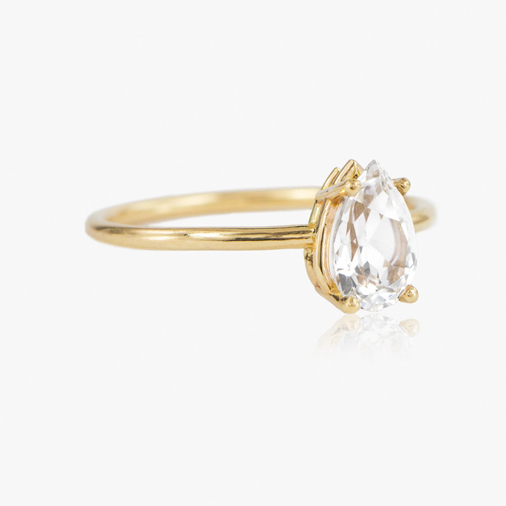 Pear Cut White Topaz Ring by Jamie Park Jewelry USA