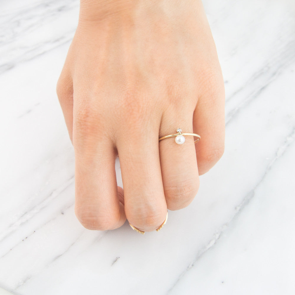 Diamond Pearl Drop Ring Gold, Pearl Jewelry by Jamie Park