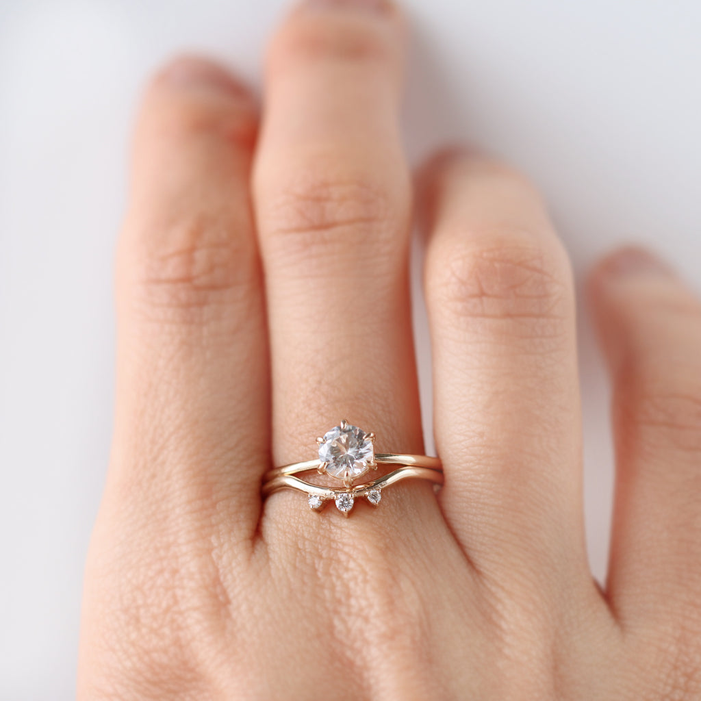 Peonia White Sapphire Solitaire Ring, Trio Diamond Band by Jamie Park Jewelry