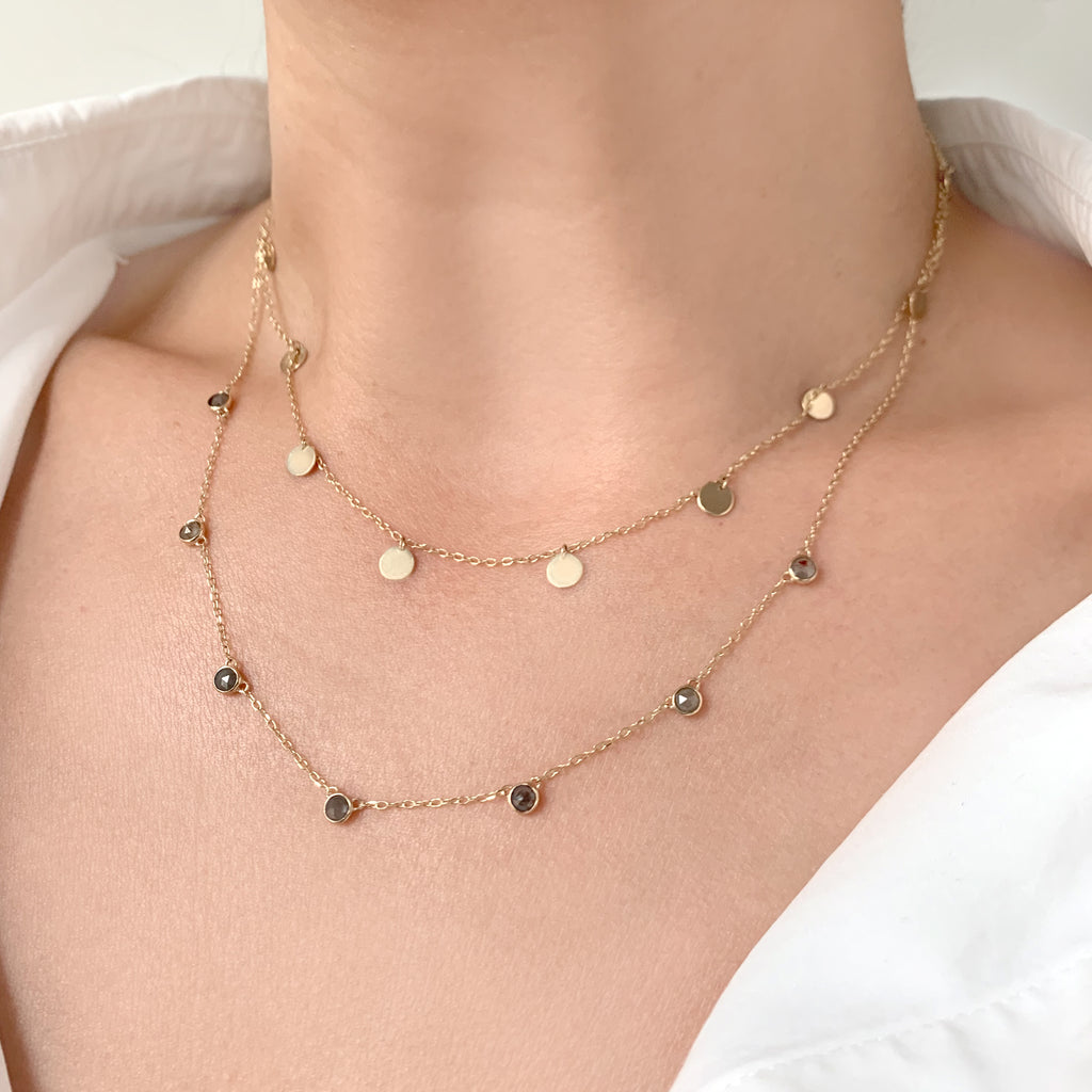 Rose Cut Diamond Station Necklace by Jamie Park Jewelry