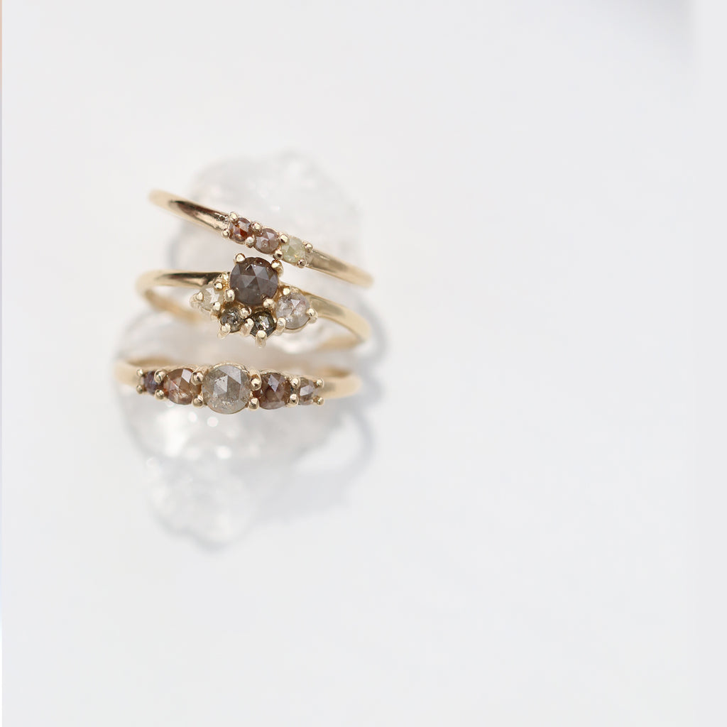 Five Rose Cut Diamond Ring by Jamie Park Jewelry