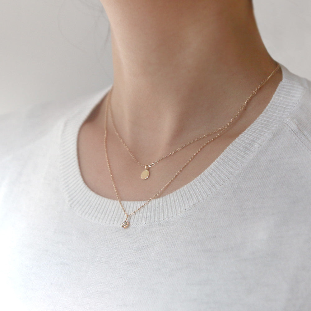Rose Gold Round Charm Necklace