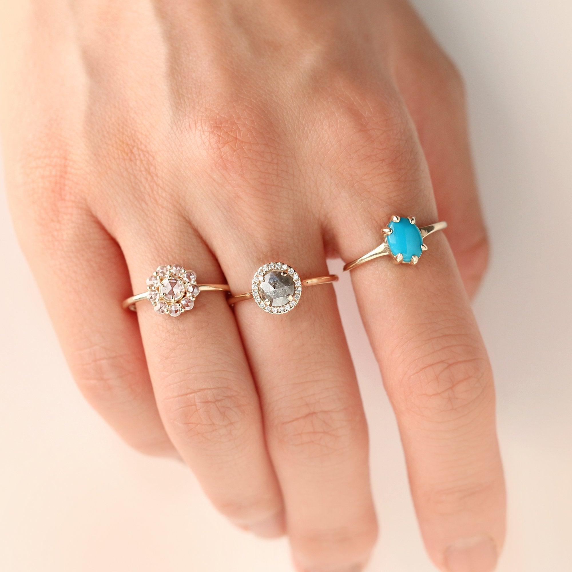 Round Halo Salt and Pepper Diamond Ring by Jamie Park Jewelry