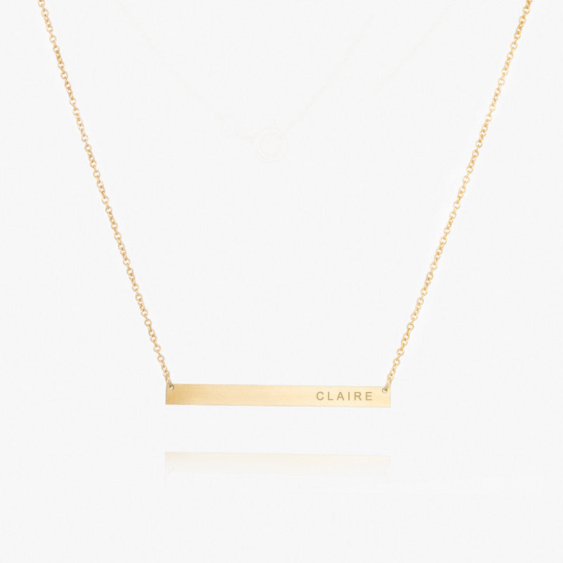 14K Personalized Gold Name Plate Necklace by Jamie Park Jewelry