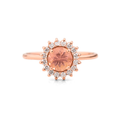 Diamond Halo Sunstone Ring by Jamie Park Jewelry
