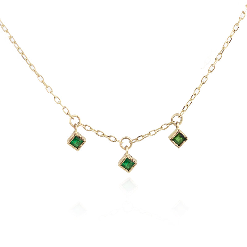 Three Emerald Necklace by Jamie Park Jewelry