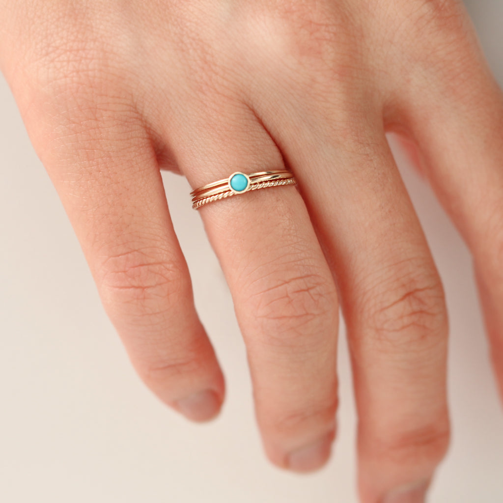 14K Turquoise Stacking Ring by Jamie Park Jewelry