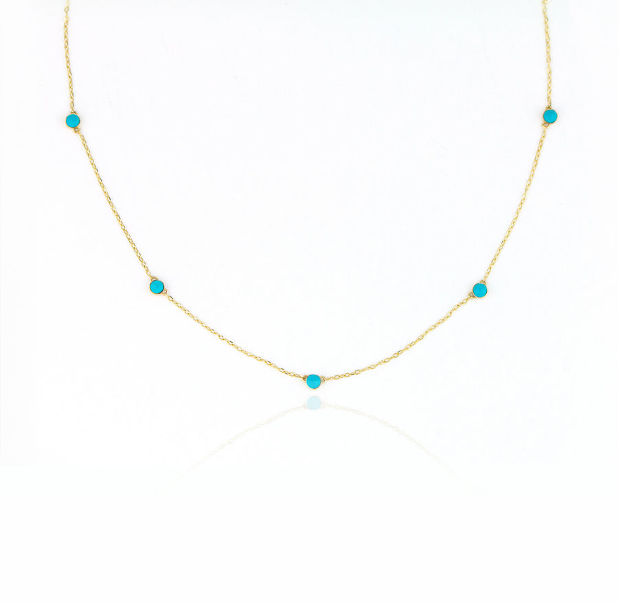 14K Turquoise Station Necklace