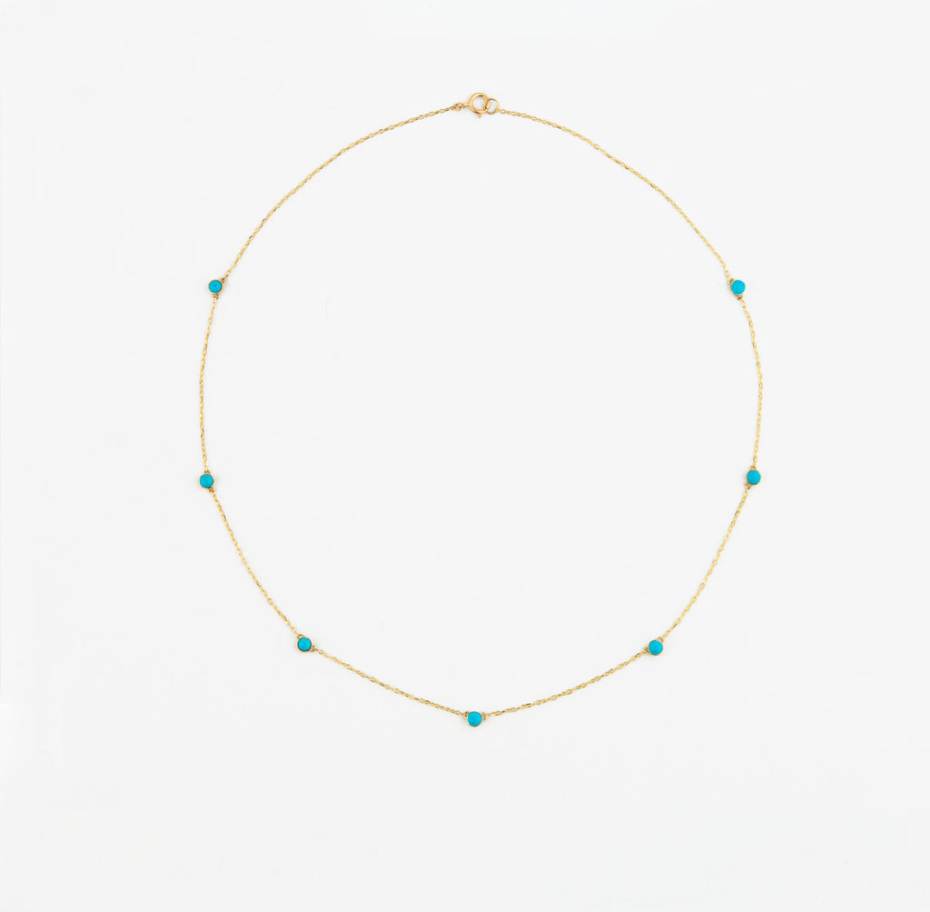 14K Turquoise Station Necklace by Jamie Park Jewelry