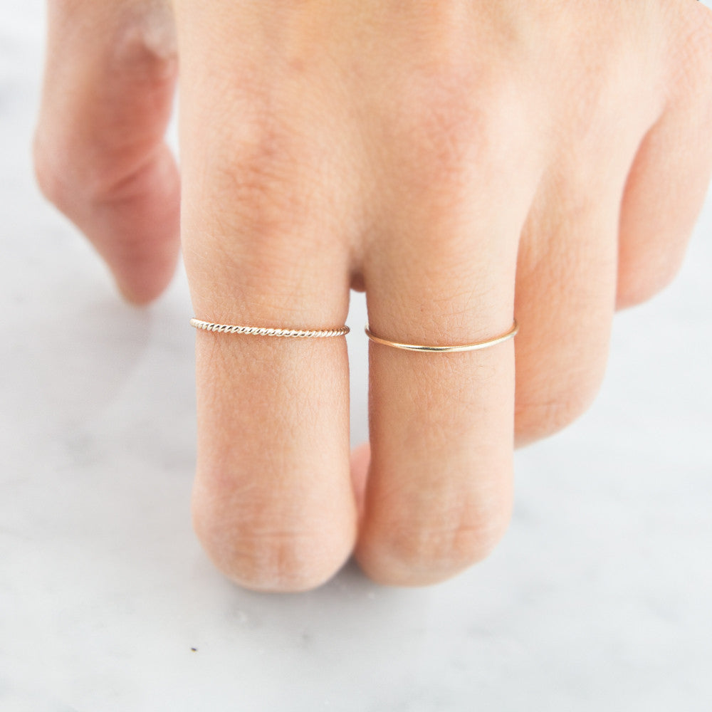 14K Cable Ring, twist rings by Jamie Park Jewelry USA