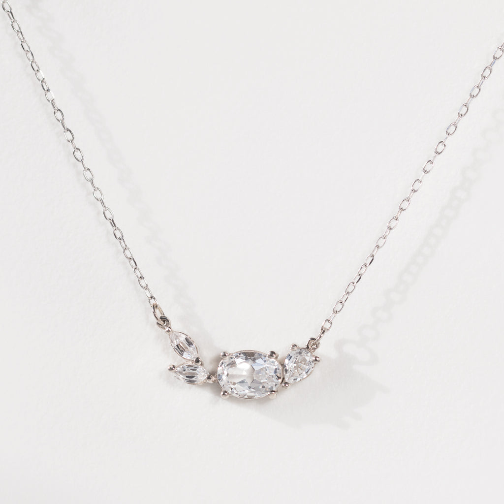 White Sapphire Cluster Necklace