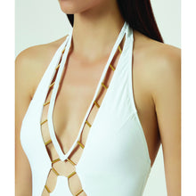 BEADED CUT-OUT ONE-PIECE SWIMSUIT - WHITE -                                         STYLE SUITE