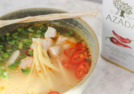 FRAGRANT CHICKEN AND RICE SOUP WITH FRESH HERBS AND SPICES