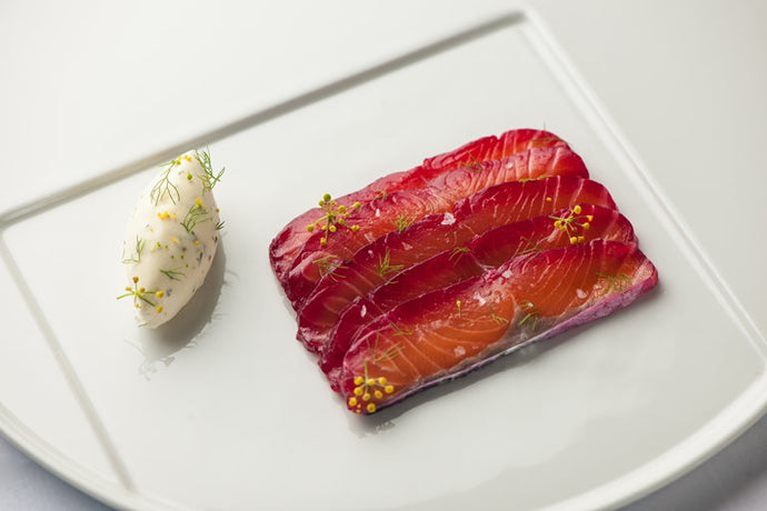SOY & BEETROOT MARINATED SALMON with FENNEL POLLEN CREAM