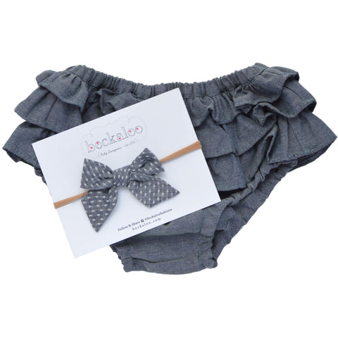 Chambray Ruffle Bloomer & Bow Set