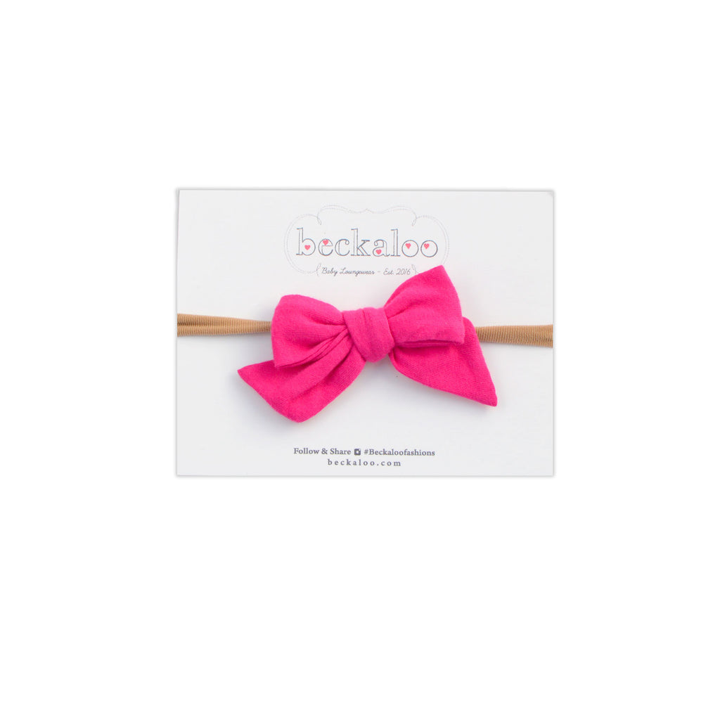 Hand Tied Bow Headband In Berry Pink