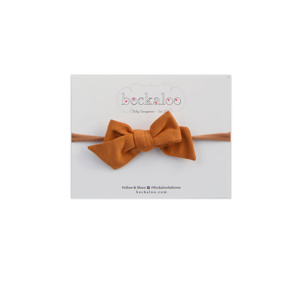 Hand Tied Bow Headband In Caramel