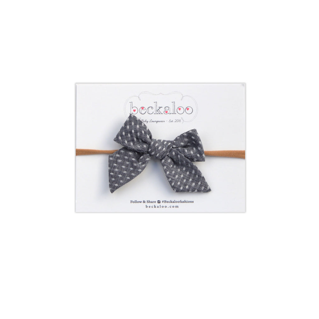 Hand Tied Bow Headband In Dotty Denim