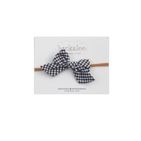 Hand Tied Bow Headband In Gingham Check
