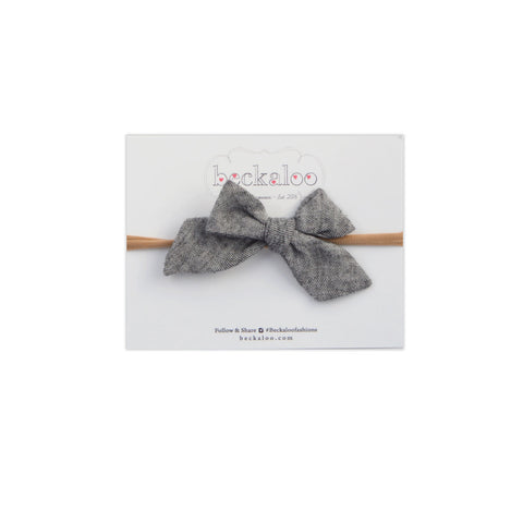 Hand Tied Bow Headband In Heather Grey Double Gauze