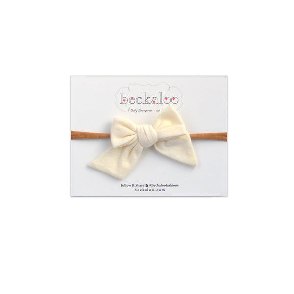 Hand Tied Bow Headband In Vanilla Bean