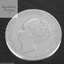 Load image into Gallery viewer, Vintage 1930 solid silver coin 2.5 Gulden Wilhelmina Queen of the Netherlands